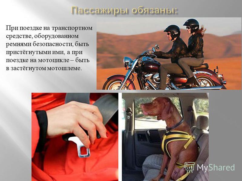 При поездке на транспортном средстве, оборудованном ремнями безопасности, быть пристёгнутыми ими, а при поездке на мотоцикле – быть в застёгнутом мотошлеме.