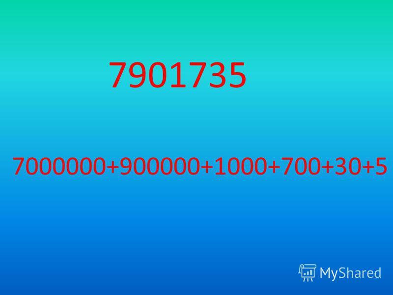 7901735 7000000+900000+1000+700+30+5