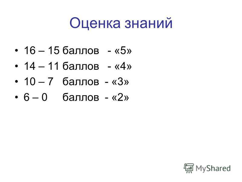 Оценка знаний 16 – 15 баллов - «5» 14 – 11 баллов - «4» 10 – 7 баллов - «3» 6 – 0 баллов - «2»
