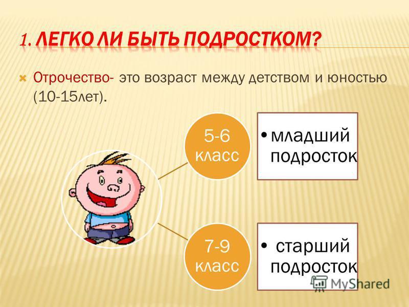 Отрочество- это возраст между детством и юностью (10-15 лет). 5-6 класс младший подросток 7-9 класс старший подросток