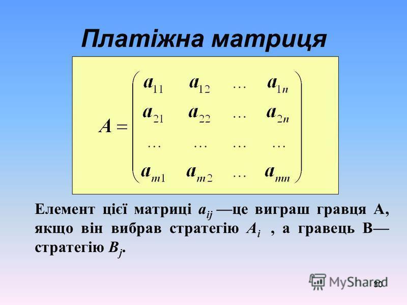 30 Платіжна матриця Елемент цієї матриці а ij це виграш гравця А, якщо він вибрав стратегію А i, а гравець В стратегію В j.