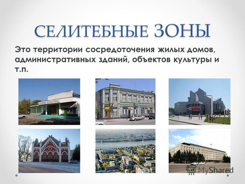 СЕЛИТЕБНЫЕ ЗОНЫ Это территории сосредоточения жилых домов, административных зданий, объектов культуры и т.п.