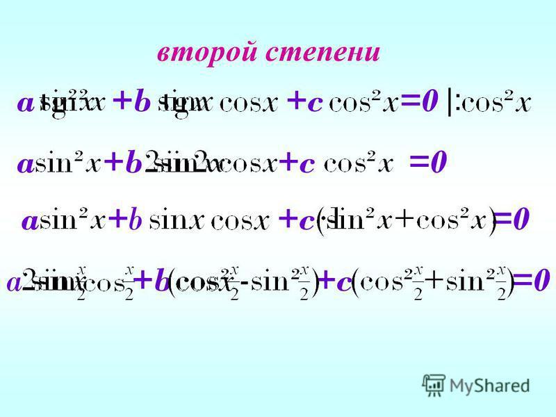 второй степени a +b +c =0 |: