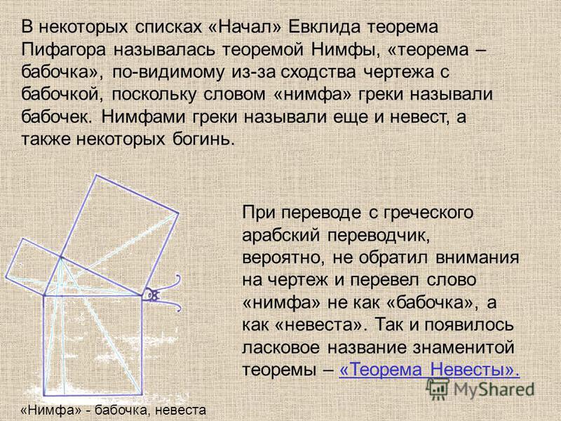Теорему называли «мостом ослов», так как слабые ученики, заучивающие теоремы наизусть, без понимания, и прозванные поэтому «ослами», были не в состоянии преодолеть теорему Пифагора, служившую для них вроде непреодолимого моста. Или «бегство убогих»,