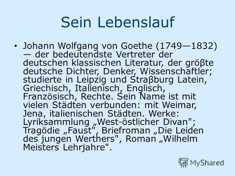 Ppt Johan Wolfgang Von Goethe Powerpoint
