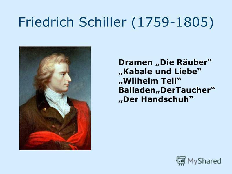 Friedrich Schiller (1759-1805) Dramen Die Räuber Kabale und Liebe Wilhelm Tell BalladenDerTaucher Der Handschuh
