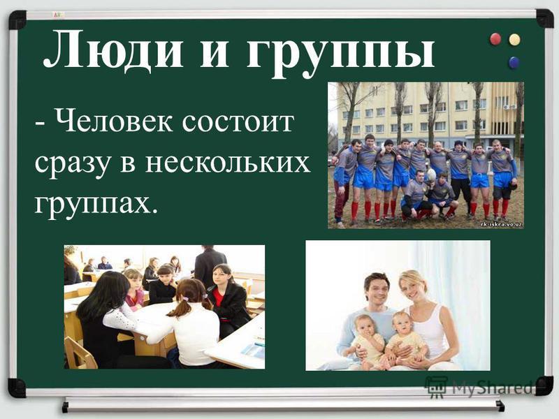 Люди и группы - Человек состоит сразу в нескольких группах.