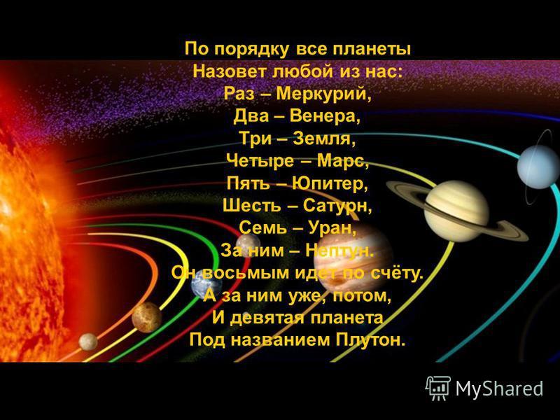 По порядку все планеты Назовет любой из нас: Раз – Меркурий, Два – Венера, Три – Земля, Четыре – Марс, Пять – Юпитер, Шесть – Сатурн, Семь – Уран, За ним – Нептун. Он восьмым идет по счёту. А за ним уже, потом, И девятая планета Под названием Плутон.