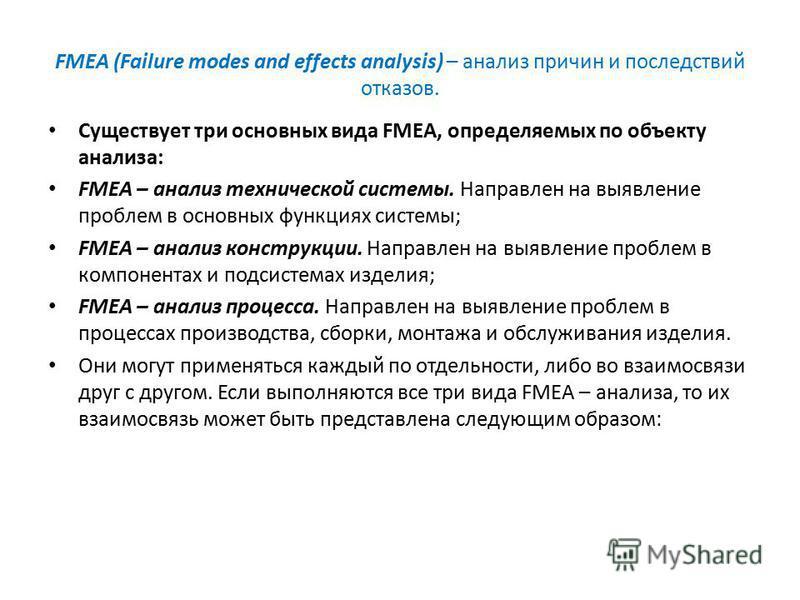FMEA (Failure modes and effects analysis) – анализ причин и последствий отказов. Существует три основных вида FMEA, определяемых по объекту анализа: FMEA – анализ технической системы. Направлен на выявление проблем в основных функциях системы; FMEA –