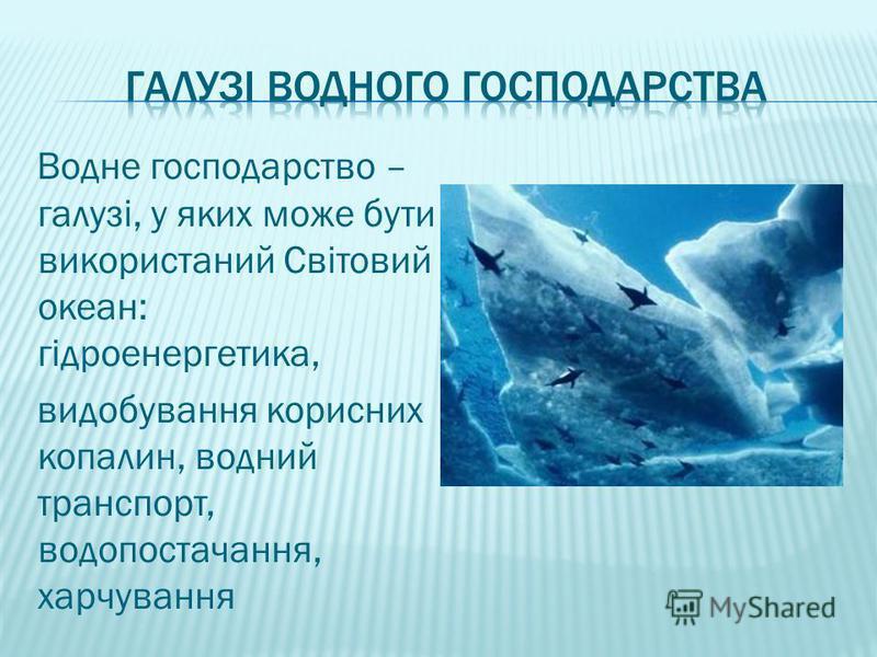 Водне господарство – галузі, у яких може бути використаний Світовий океан: гідроенергетика, видобування корисних копалин, водний транспорт, водопостачання, харчування