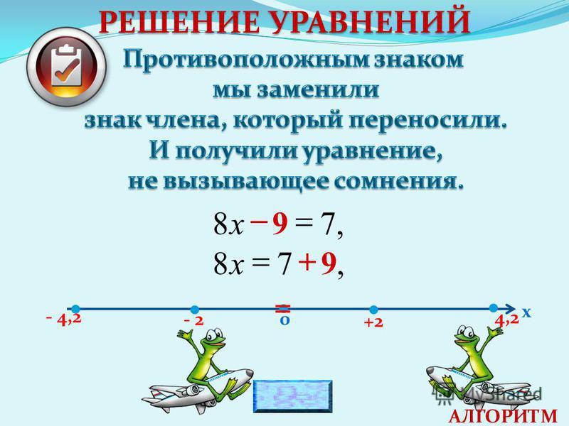 - 2 +2 4,2 - 4,2 0 х = РЕШЕНИЕ УРАВНЕНИЙ,798 х,978 х АЛГОРИТМ