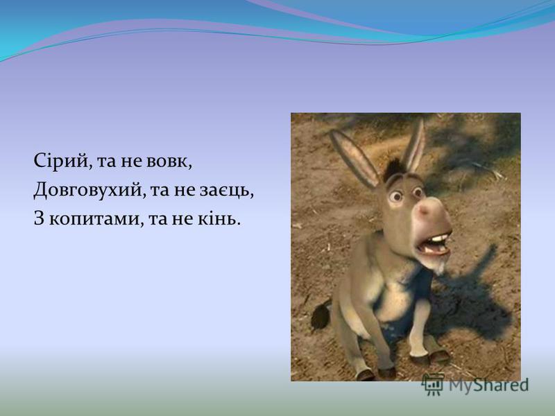 Сірий, та не вовк, Довговухий, та не заєць, З копитами, та не кінь.