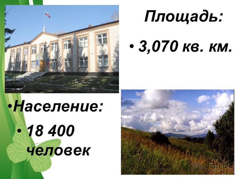 Free Powerpoint TemplatesPage 5 3,070 кв. км. 18 400 человек Площадь: Население: