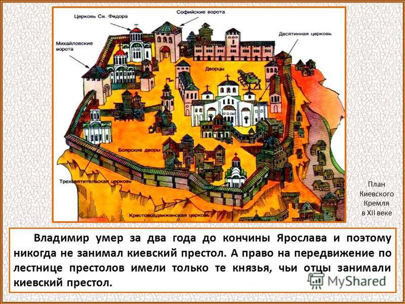 Владимир умер за два года до кончины Ярослава и поэтому никогда не занимал киевский престол. А право на передвижение по лестнице престолов имели только те князья, чьи отцы занимали киевский престол. План Киевского Кремля в XII веке
