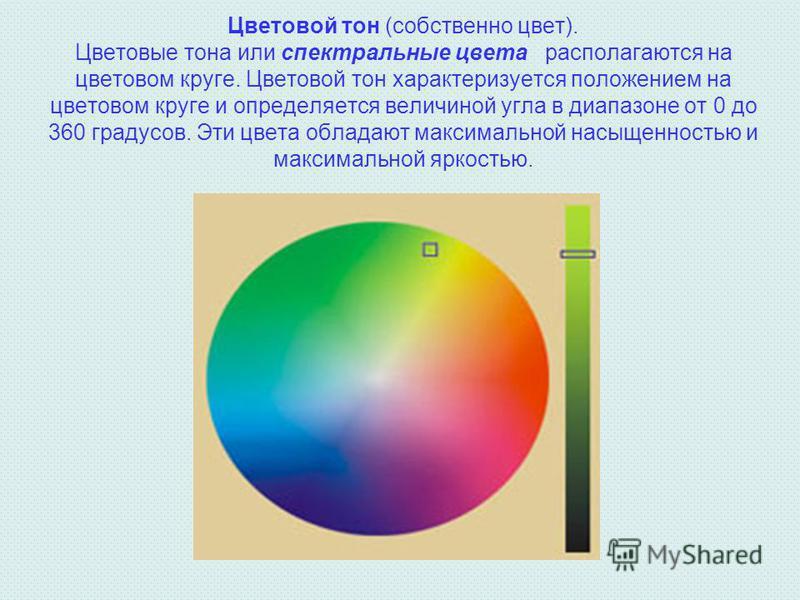 Цветовой тон (собственно цвет). Цветовые тона или спектральные цвета располагаются на цветовом круге. Цветовой тон характеризуется положением на цветовом круге и определяется величиной угла в диапазоне от 0 до 360 градусов. Эти цвета обладают максима