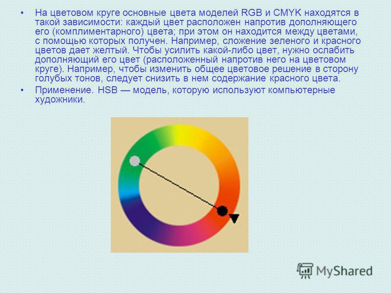 На цветовом круге основные цвета моделей RGB и CMYK находятся в такой зависимости: каждый цвет расположен напротив дополняющего его (комплиментарного) цвета; при этом он находится между цветами, с помощью которых получен. Например, сложение зеленого