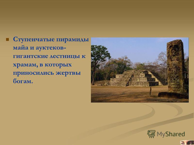Ступенчатые пирамиды майа и ауктеков- гигантские лестницы к храмам, в которых приносились жертвы богам.