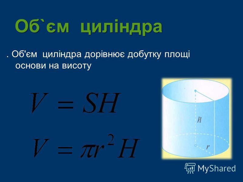 Об`єм циліндра. Об'єм циліндра дорівнює добутку площі основи на висоту