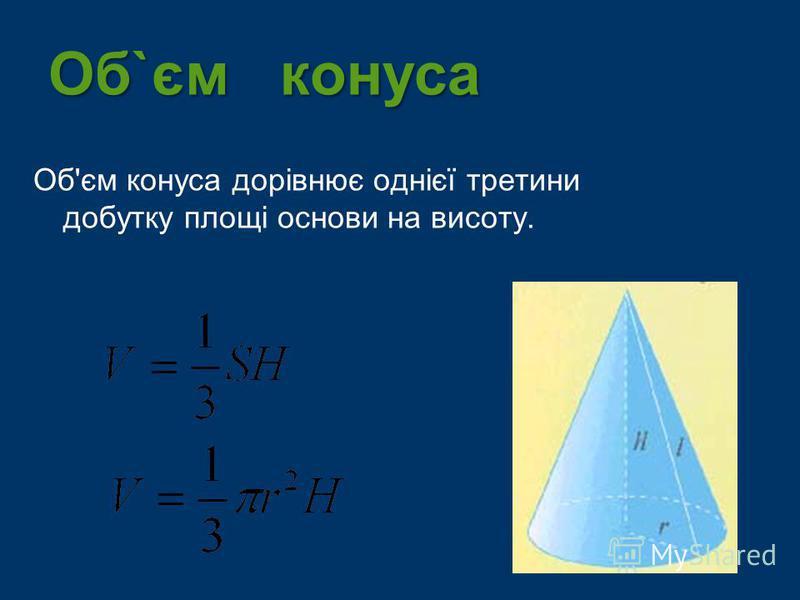 Об`єм конуса Об'єм конуса дорівнює однієї третини добутку площі основи на висоту.