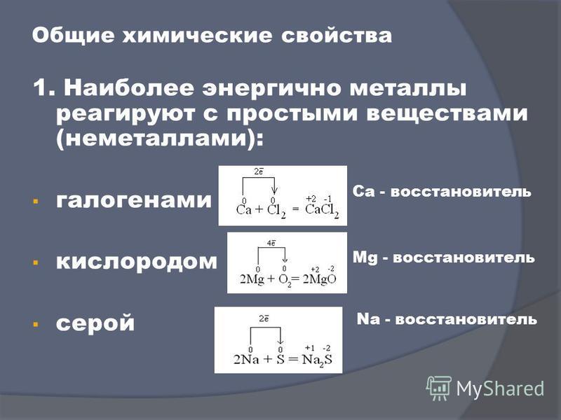Общие химические свойства 1. Наиболее энергично металлы реагируют с простыми веществами (неметаллами): галогенами кислородом серой Ca - восстановитель Mg - восстановитель Na - восстановитель