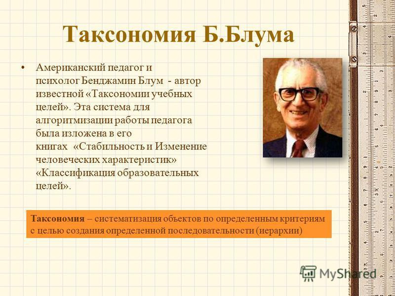 Таксономия Б.Блума Американский педагог и психолог Бенджамин Блум - автор известной «Таксономии учебных целей». Эта система для алгоритмизации работы педагога была изложена в его книгах «Стабильность и Изменение человеческих характеристик» «Классифик