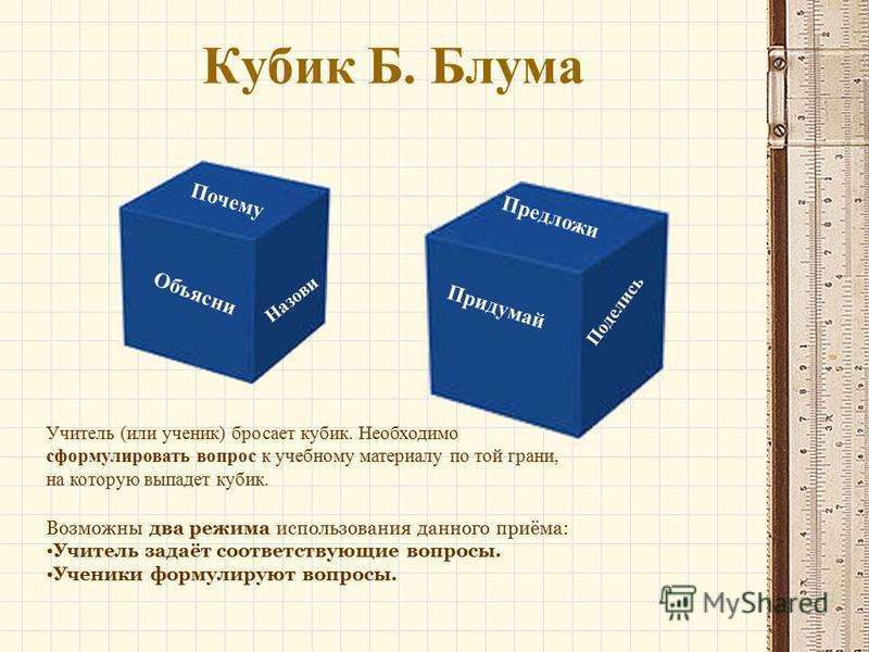 Кубик Б. Блума Учитель (или ученик) бросает кубик. Необходимо сформулировать вопрос к учебному материалу по той грани, на которую выпадет кубик. Почему Объясни Назови Предложи Придумай Поделись Возможны два режима использования данного приёма: Учител