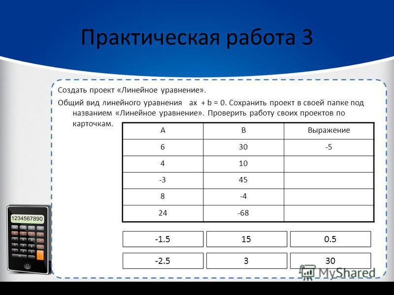 Создать проект «Линейное уравнение». Общий вид линейного уравнения ax + b = 0. Сохранить проект в своей папке под названием «Линейное уравнение». Проверить работу своих проектов по карточкам. Практическая работа 3 АВВыражение 630-5 410 -345 8-4 24-68
