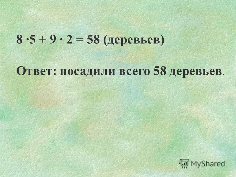 Правильное решение: 1)8 · 5 = 40 (сосен) 2)9 · 2 = 18 (берез) 3)40 + 18 = 58 (деревьев)