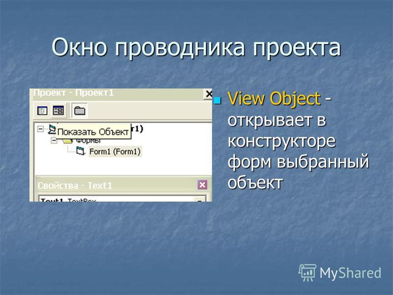 Окно проводника проекта View Object - открывает в конструкторе форм выбранный объект View Object - открывает в конструкторе форм выбранный объект