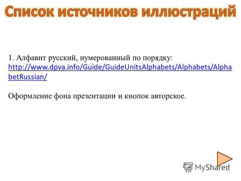 1. Алфавит русский, нумерованный по порядку: http://www.dpva.info/Guide/GuideUnitsAlphabets/Alphabets/Alpha betRussian/ http://www.dpva.info/Guide/GuideUnitsAlphabets/Alphabets/Alpha betRussian/ Оформление фона презентации и кнопок авторское.