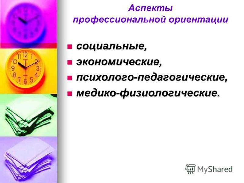 Аспекты профессиональной ориентации социальные, социальные, экономические, экономические, психолого-педагогические, психолого-педагогические, медико-физиологические. медико-физиологические.