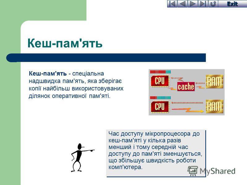Exit Кеш-пам'ять Кеш-пам'ять - спеціальна надшвидка пам'ять, яка зберігає копії найбільш використовуваних ділянок оперативної пам'яті. Час доступу мікропроцесора до кеш-пам'яті у кілька разів менший і тому середній час доступу до пам'яті зменшується,
