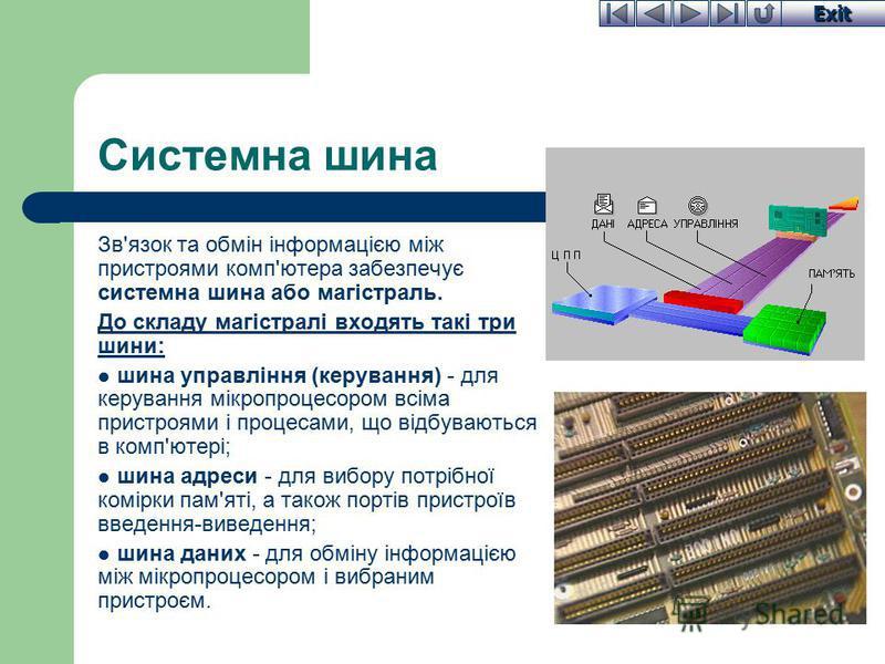 Exit Системна шина Зв'язок та обмін інформацією між пристроями комп'ютера забезпечує системна шина або магістраль. До складу магістралі входять такі три шини: шина управління (керування) - для керування мікропроцесором всіма пристроями і процесами, щ