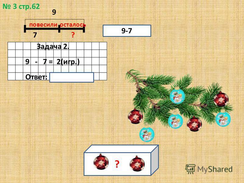 3 стр.62 7? повесили осталось Задача 2. 9 - 7 = 2(игр.) Ответ: 2 игрушки. 9-7 9 ?