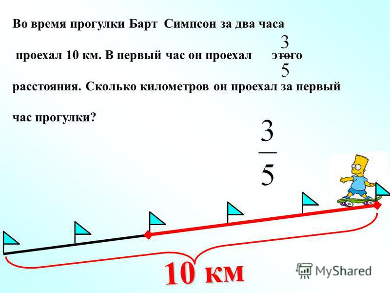 Во время прогулки Барт Симпсон за два часа проехал 10 км. В первый час он проехал этого расстояния. Сколько километров он проехал за первый час прогулки? 10 км