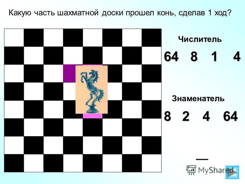 Какую часть шахматной доски прошел конь, сделав 1 ход? Числитель 46418 Знаменатель 82464
