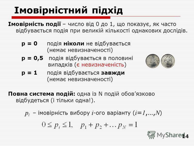 14 Імовірність події – число від 0 до 1, що показує, як часто відбувається подія при великій кількості однакових дослідів. p = 0подія ніколи не відбувається (немає невизначеності) p = 0,5 подія відбувається в половині випадків (є невизначеність) p =