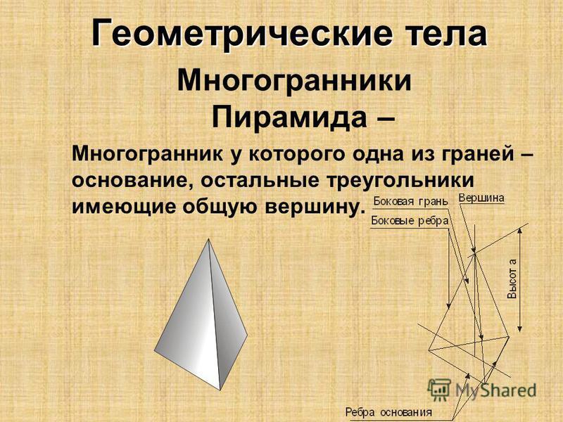 Геометрические тела Геометрические тела Многогранники Пирамида – Многогранник у которого одна из граней – основание, остальные треугольники имеющие общую вершину.