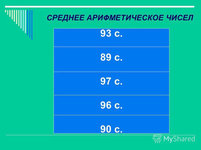 СРЕДНЕЕ АРИФМЕТИЧЕСКОЕ ЧИСЕЛ 93 с. 89 с. 97 с. 96 с. 90 с.