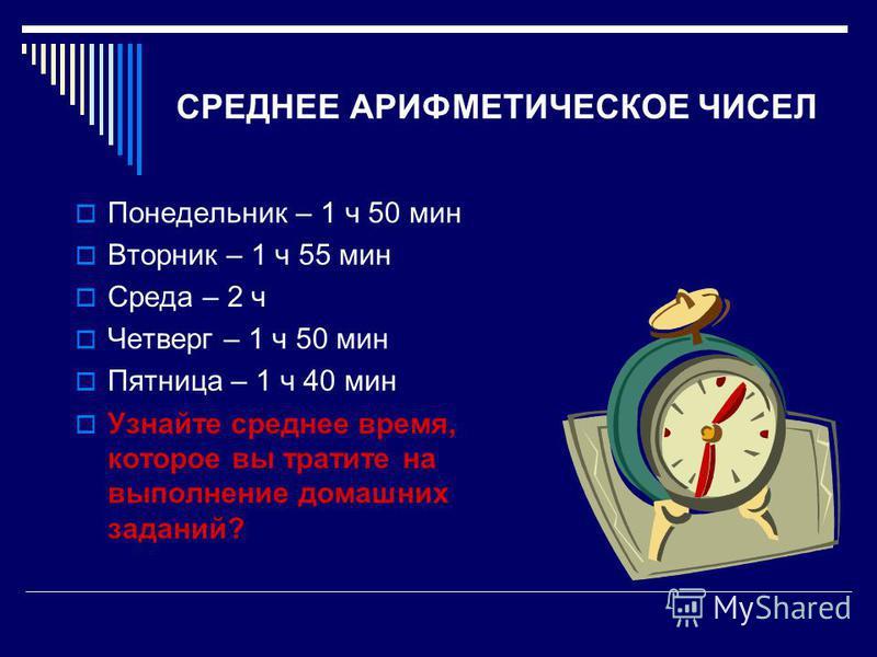 СРЕДНЕЕ АРИФМЕТИЧЕСКОЕ ЧИСЕЛ Понедельник – 1 ч 50 мин Вторник – 1 ч 55 мин Среда – 2 ч Четверг – 1 ч 50 мин Пятница – 1 ч 40 мин Узнайте среднее время, которое вы тратите на выполнение домашних заданий?