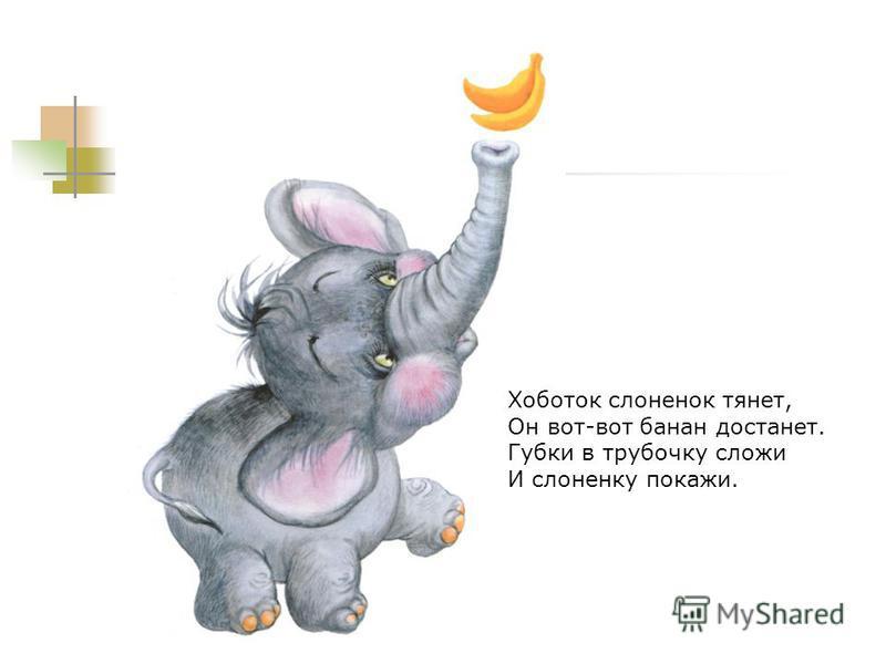 Хоботок слоненок тянет, Он вот-вот банан достанет. Губки в трубочку сложи И слоненку покажи.