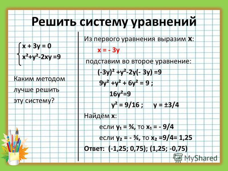 Решить систему уравнений х + 3 у = 0 х²+у²-2 ху =9 Каким методом лучше решить эту систему? Из первого уравнения выразим х : х = - 3 у подставим во второе уравнение: (-3 у)² +у²-2 у(- 3 у) =9 9 у² +у² + 6 у² = 9 ; 16 у²=9 у² = 9/16 ; у = ±3/4 Найдём х