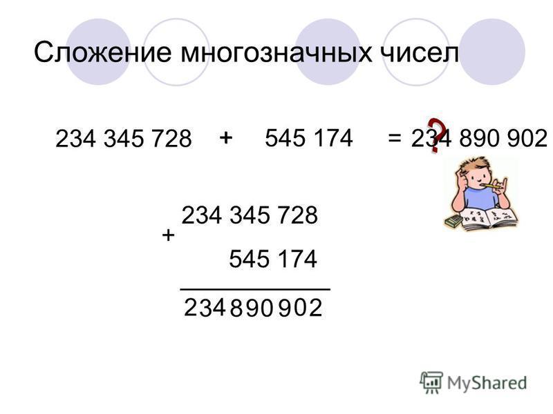 Сложение многозначных чисел 234 345 728 545 174 + = + 234 345 728 + 545 174 2 0 909 8 4 3 2 234 890 902