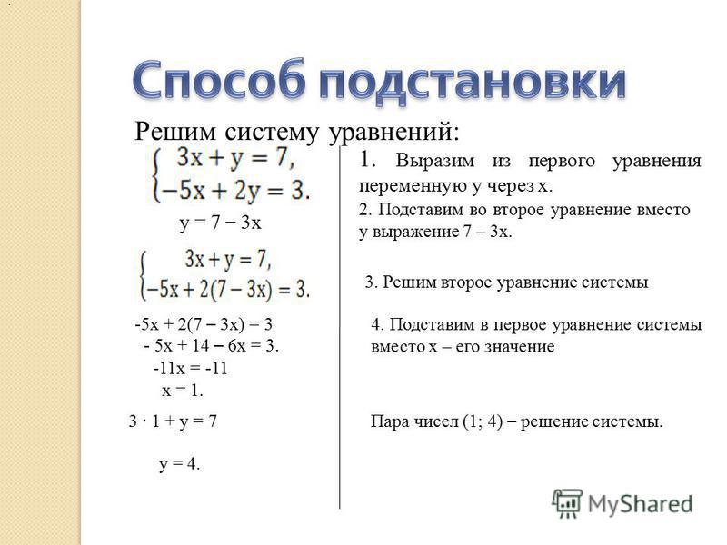 Решим систему уравнений: 1. Выразим из первого уравнения переменную у через х. у = 7 – 3 х 2. Подставим во второе уравнение вместо у выражение 7 – 3 х. : 3. Решим второе уравнение системы -5 х + 2(7 – 3 х) = 3 - 5 х + 14 – 6 х = 3. -11 х = -11 х = 1.