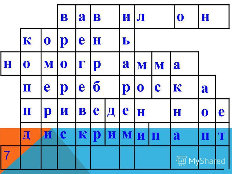 вавилон корень номограмма переброска приведенное дискриминант 7
