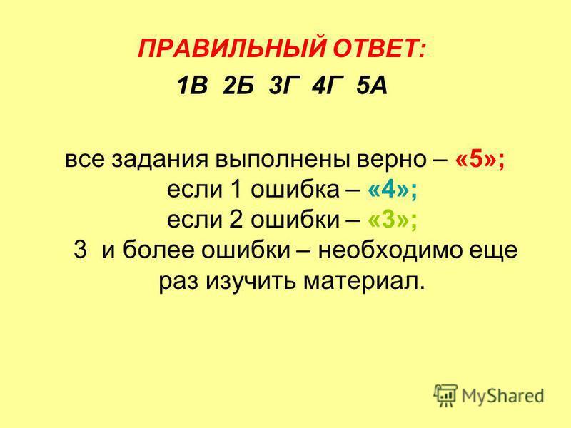 ПРАВИЛЬНЫЙ ОТВЕТ: 1В 2Б 3Г 4Г 5А все задания выполнены верно – «5»; если 1 ошибка – «4»; если 2 ошибки – «3»; 3 и более ошибки – необходимо еще раз изучить материал.