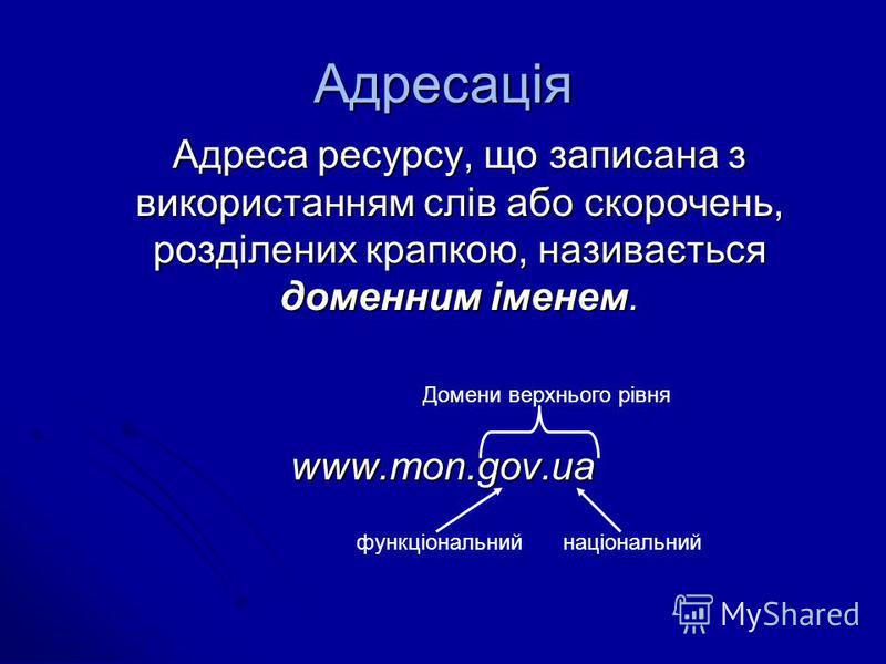 Адресація Адреса ресурсу, що записана з використанням слів або скорочень, розділених крапкою, називається доменним іменем. www.mon.gov.ua Домени верхнього рівня національнийфункціональний