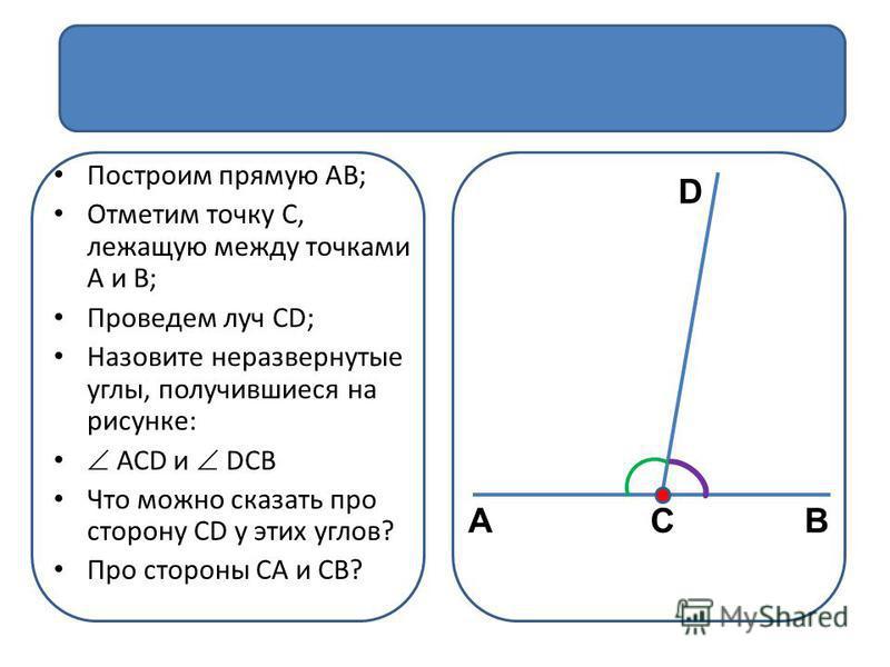 Смежные углы Построим прямую АВ; Отметим точку С, лежащую между точками А и В; Проведем луч СD; Назовите неразвернутые углы, получившиеся на рисунке: АСD и DСВ Что можно сказать про сторону СD у этих углов? Про стороны СА и СВ? АВС D