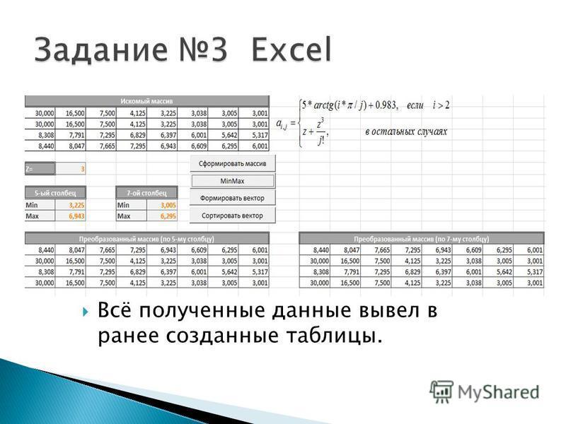 Всё полученные данные вывел в ранее созданные таблицы.