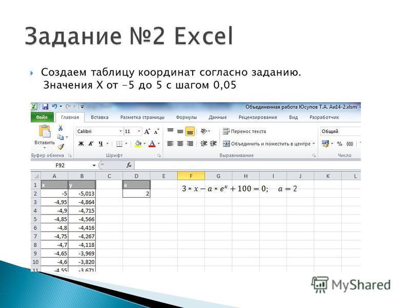 Создаем таблицу координат согласно заданию. Значения X от -5 до 5 с шагом 0,05